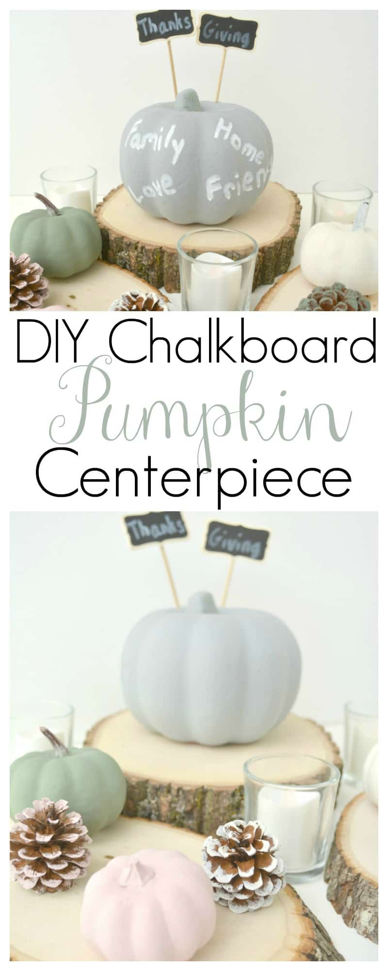 DIY Chalkboard Pumpkin Centerpiece
