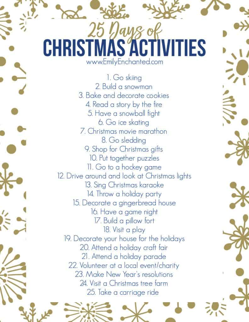 25 Days of Christmas Activities Printable | Free Printable