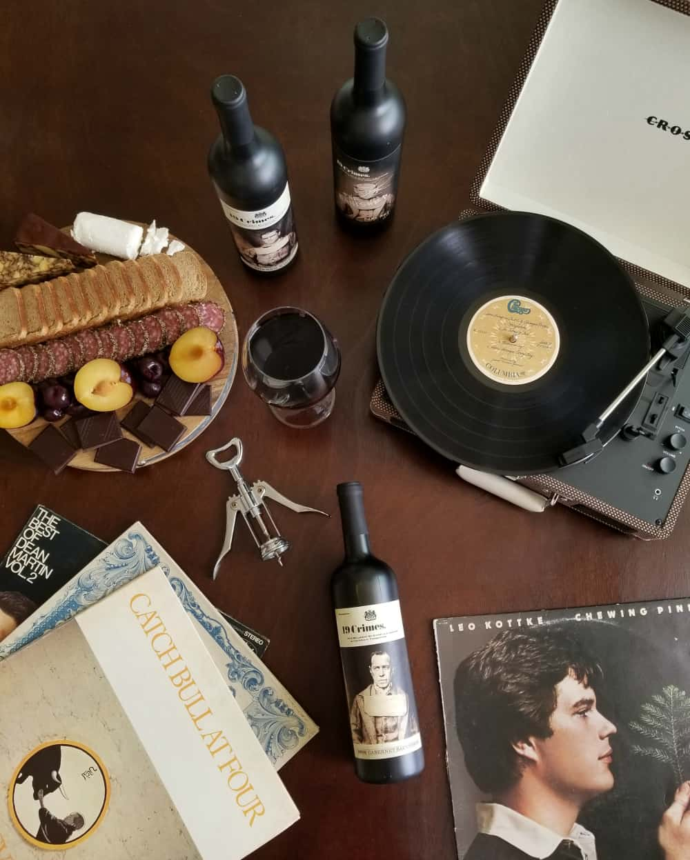 Hosting a Vinyl Party with 19 Crimes Wine and Living Wine Labels