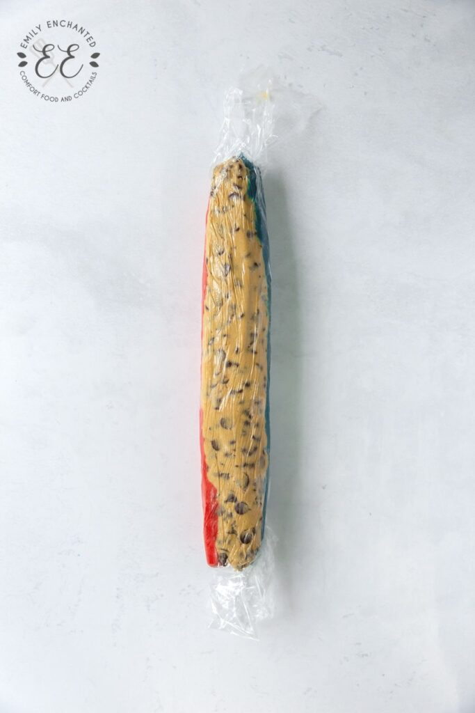 Tri-Colored Cookie Dough wrapped in plastic wrap