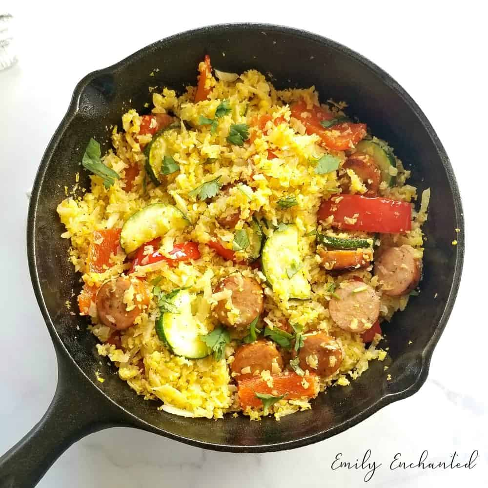 Chicken Sausage and Cauliflower Rice Skillet