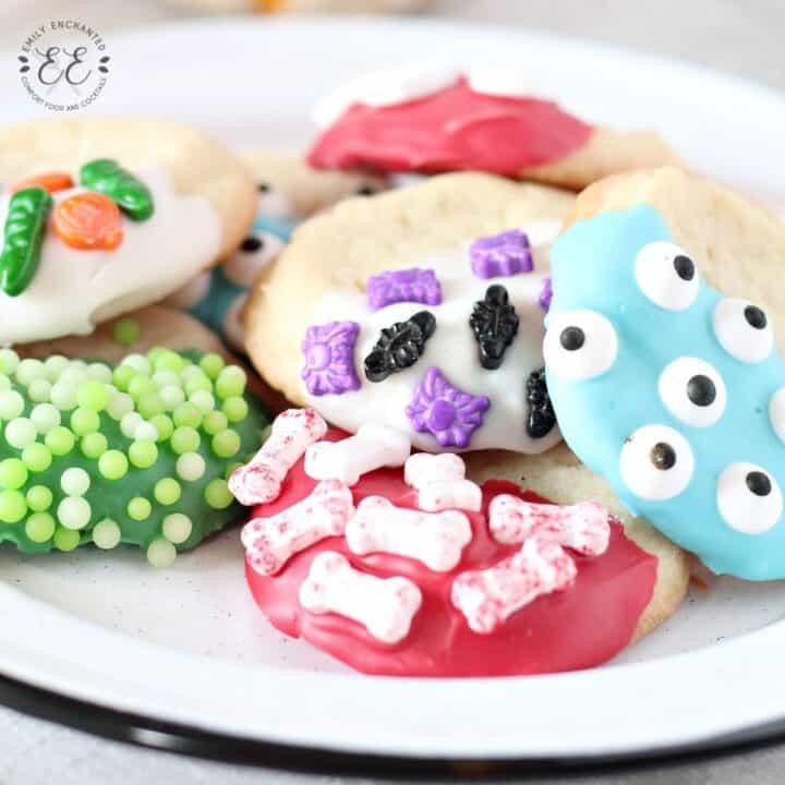 Halloween Sugar Cookies Dipped in Chocolate