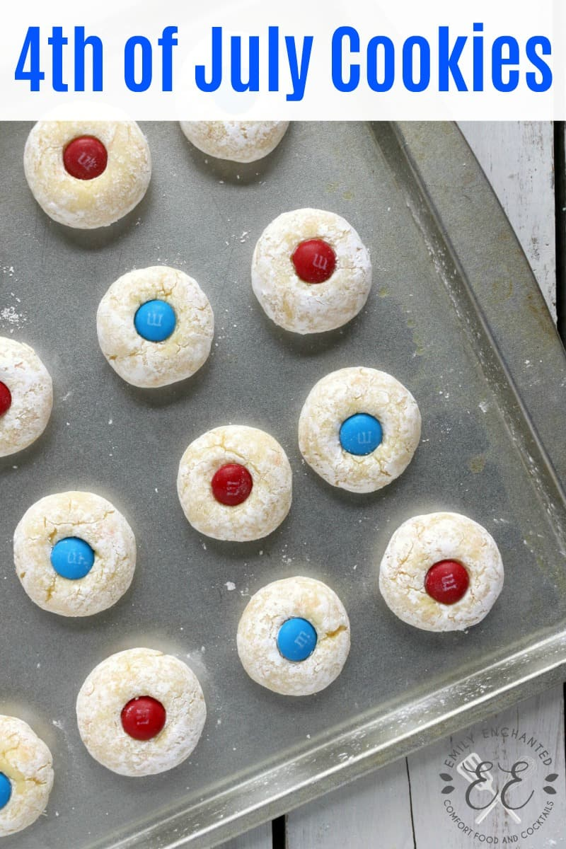 Pin image for Easy No Bake 4th of July Thumbprint Cookies on a baking sheet