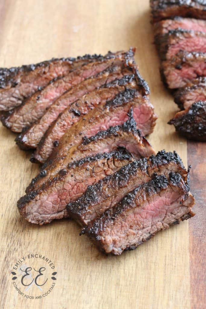 Hawaiian Coffee BBQ Flank Steak sliced