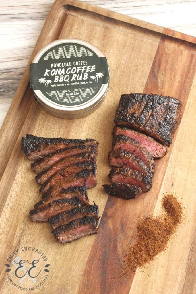 Hawaiian Coffee BBQ Flank Steak on a wood cutting board