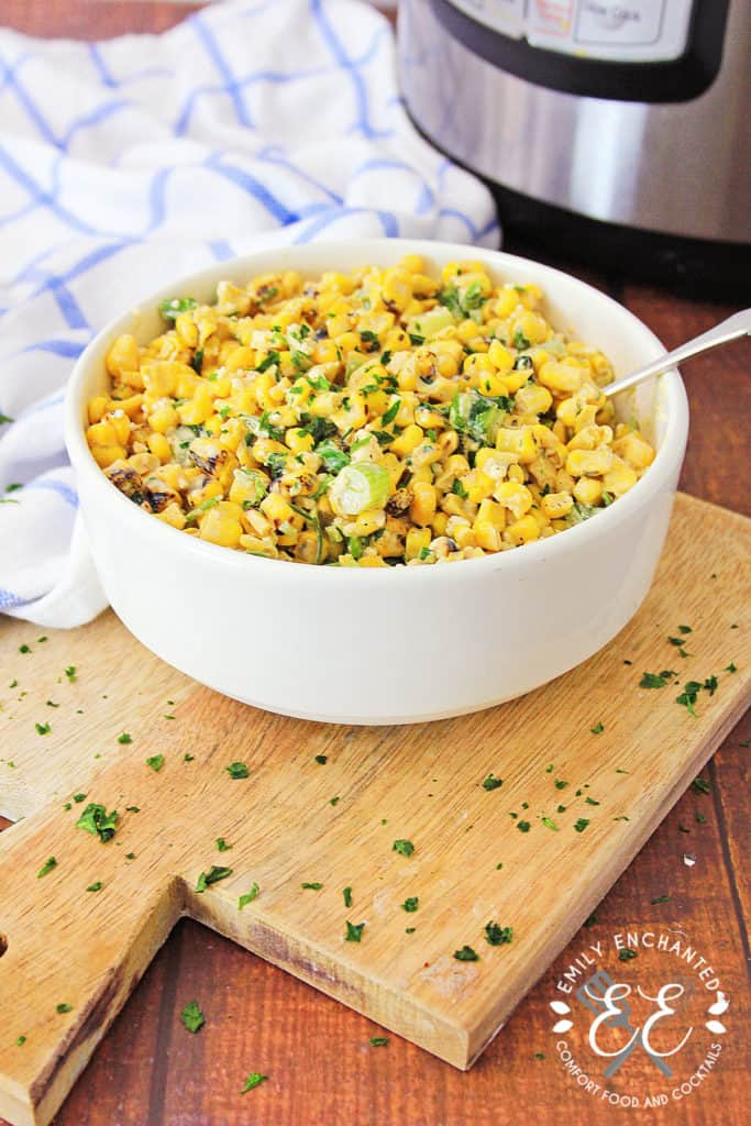 Instant Pot Mexican Street Corn Off the Cob in a bowl