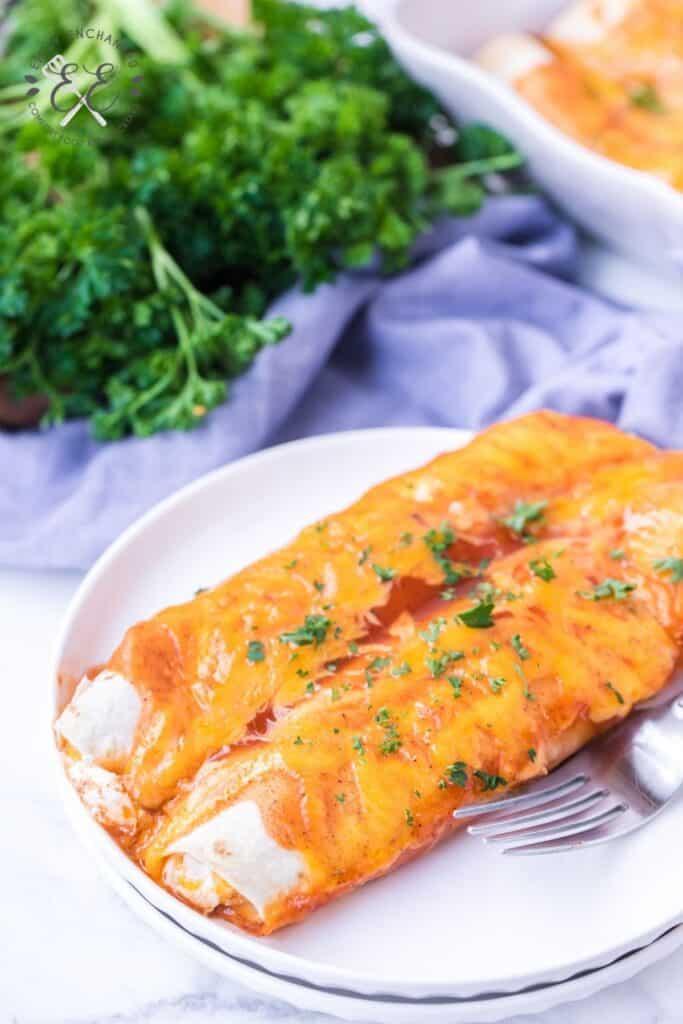 Cheese Enchiladas with Sour Cream and Enchilada Sauce