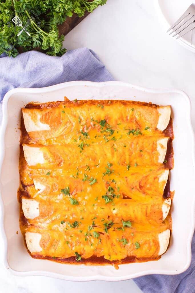 Easy Cheese Enchiladas Recipe with Sour Cream and Enchilada Sauce