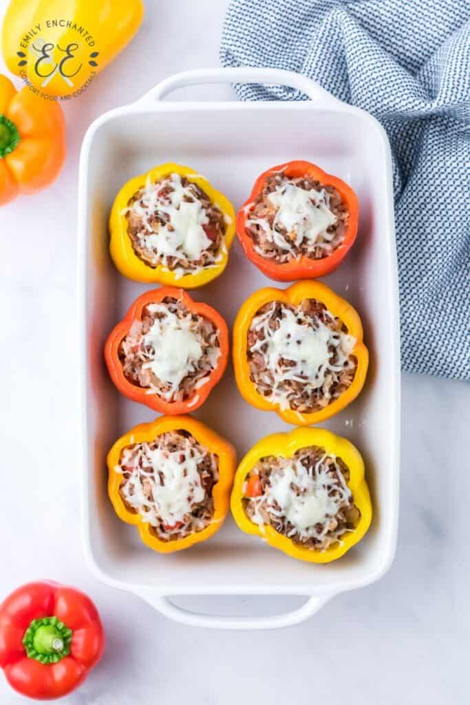 Cheesy Stuffed Peppers with Beef and Rice