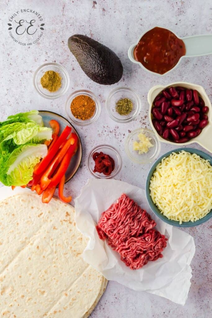 Beef Foldover Ingredients in a flat lay