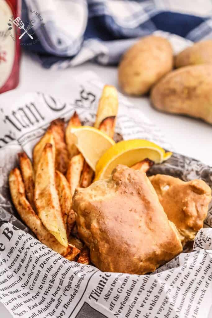 Air Fryer Beer Battered Fish and Chips in a basket
