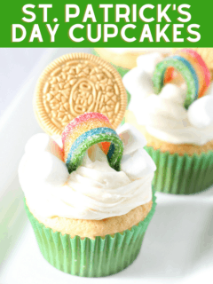 St. Patrick's Day Cupcakes with rainbow and pot of gold