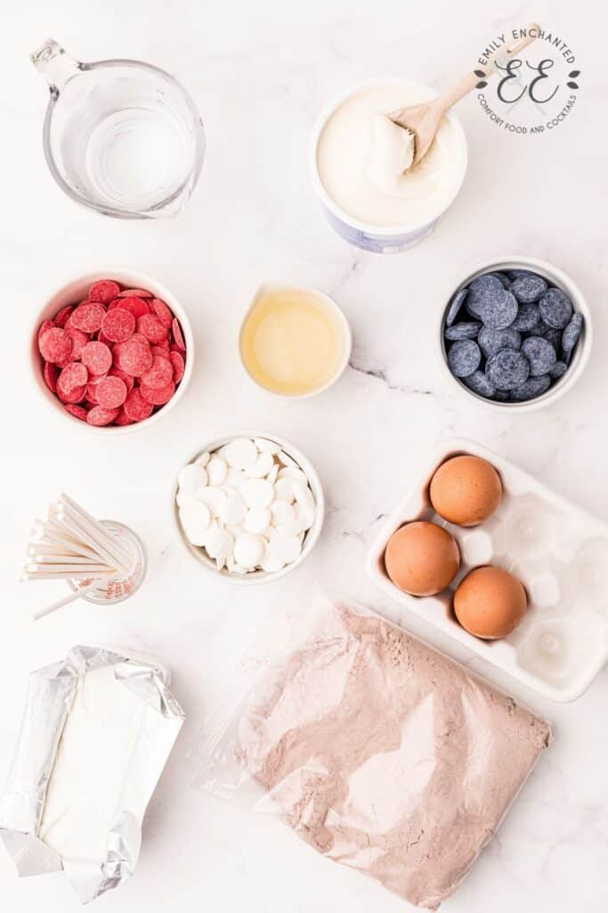 Cake Pop Ingredients in a flat lay photo