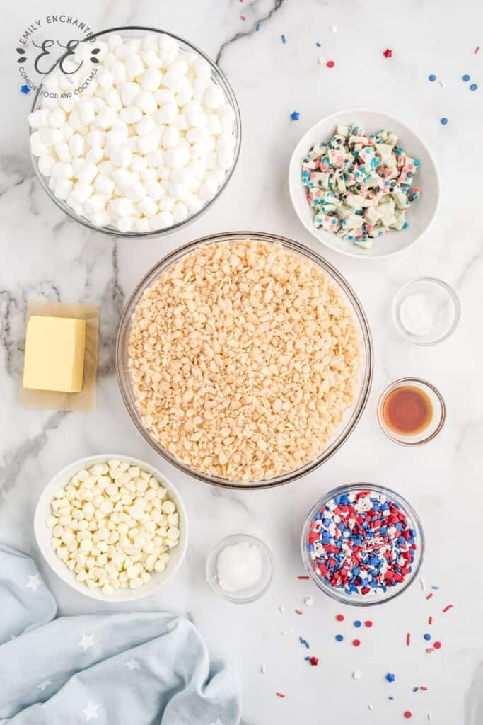 4th of July Rice Krispies Treats Ingredients
