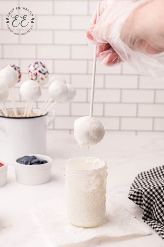 Cake Balls Dipped in White Chocolate
