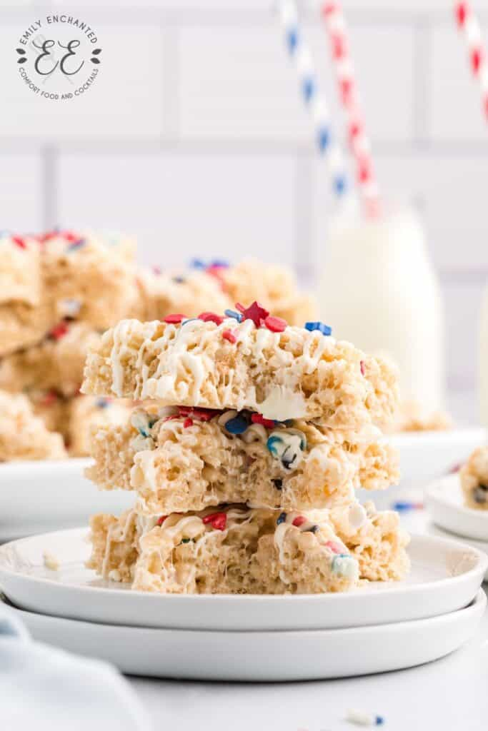 Red White and Blue Rice Krispies stacked on a plate