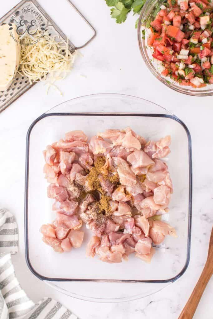 Seasoned Chicken in a Baking Dish