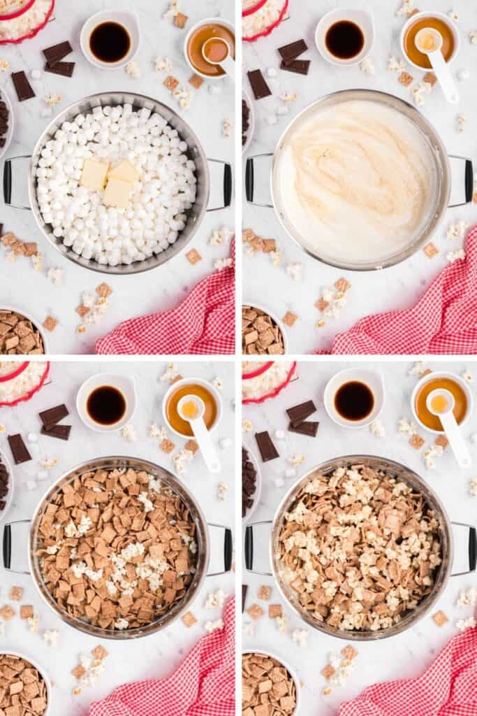 4 photo collage: 1st photo marshmallows and butter in a pot, 2nd photo marshmallows and butter melted in a pot, 3rd photo cereal added to pot, 4th photo all mixed together