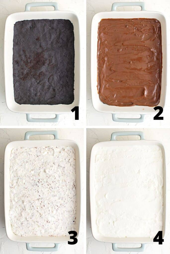 Collage of photos showing the layers of the dessert: 1) Oreo crust, 2) chocolate pudding, 3) cream cheese mixture, 4) whipped cream