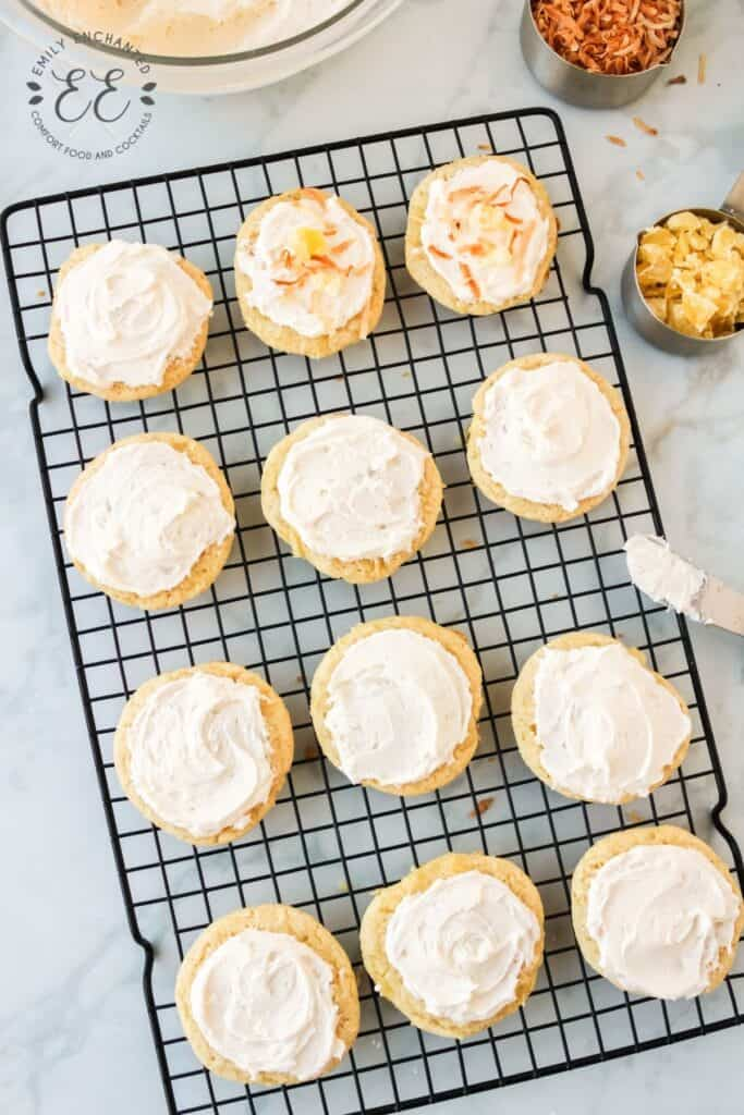 Pineapple Cake Mix Cookies with Coconut Frosting
