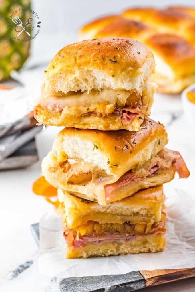 Hawaiian Ham and Cheese Sliders with Pineapple