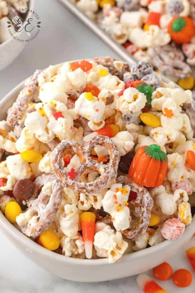 Halloween Popcorn with Candy Corn and Pumpkins